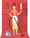A woman with a vacuum cleaner stock illustration
