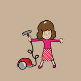 Woman and vacuum cleaner Stock Photography