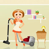 Woman with vacuum cleaner Royalty Free Stock Photos