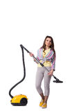 The woman with vacuum cleaner isolated on white Royalty Free Stock Photography