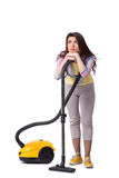 The woman with vacuum cleaner isolated on white Stock Images