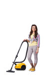 The woman with vacuum cleaner isolated on white Stock Photo