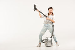 Woman with vacuum cleaner stock photography