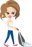 Woman Vacuuming. Isolated cartoon woman vacuuming floor Royalty Free Stock Photos