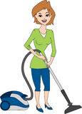 Woman Vacuuming. Housewife using vacuum cleaner isolated on white Royalty Free Stock Photo