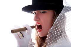Woman with a vail and cigar Stock Photography