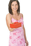 Woman with a Valentine gift Stock Images