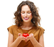 Woman with Valentine Heart Royalty Free Stock Images