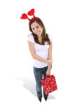 Woman with Valentine present Stock Images