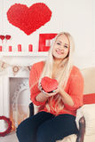 Woman with a valentine's box Stock Image