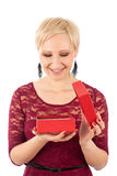Woman with valentine's gift Stock Image