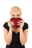 Woman with valentine's gift Stock Photography