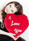 Woman with Valentine's present Royalty Free Stock Photography
