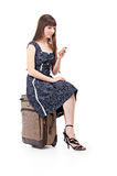 Woman with valise Stock Photography