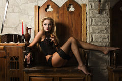 Woman vamp. Portrait of the very pretty woman vamp Stock Image