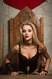 Woman vamp. Portrait of the very pretty woman vamp Royalty Free Stock Image