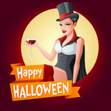 Woman in vampire costume. Vector card with text. Halloween card. Beautiful brunette woman with glass of wine in Dracula vampire Halloween costume with fangs Stock Photos