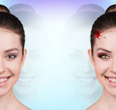Woman with vampire fangs. Beautiful woman with vampire fangs isolated on white Royalty Free Stock Photo