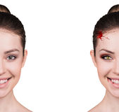 Woman with vampire fangs Stock Images
