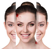 Woman with vampire fangs. Beautiful woman with vampire fangs isolated on white Stock Photos