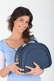 Woman with vanity case Royalty Free Stock Photography