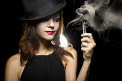 Woman Vaping E-Cigarette Royalty Free Stock Image
