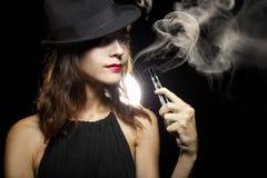 Woman Vaping E-Cigarette Stock Photography