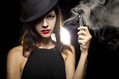 Woman Vaping E-Cigarette Royalty Free Stock Photography