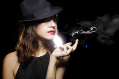 Woman Vaping Smoking Alternative Stock Images