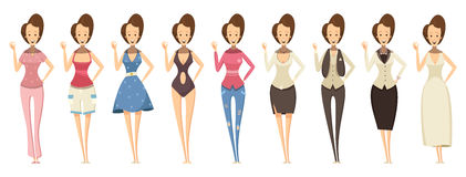 Woman In Various Outfits Set Stock Photo