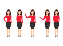 Woman in various poses isolated on white background. Vector illustration. stock illustration
