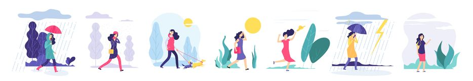 Woman various weather. Girl walking outdoors in different clothes snowfall cloudy wind heat rain with umbrella cold. Season vector set. Illustration of weather vector illustration