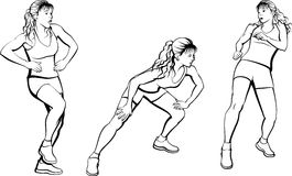 Woman In Various Zumba Poses Stock Photography