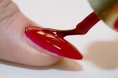 Woman varnishing nail Stock Photography