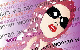 Woman Vector. Headscarfed woman wearing sunglasses and red lipstick Stock Image