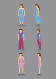 Woman Vector Icons Front and Side View Royalty Free Stock Photo