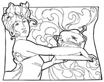Woman vector illustration. Art Deco. Art Nouveau. Stock Photography