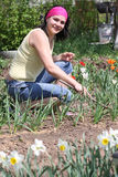 Woman in vegetable garden Royalty Free Stock Images