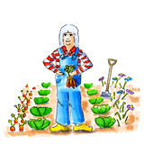 Woman in vegetable garden Royalty Free Stock Photo