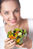 Woman with vegetable salad Stock Photography