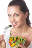 Woman with vegetable salad Royalty Free Stock Photo