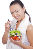 Woman with vegetable salas Royalty Free Stock Image