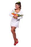 Woman and vegetables Royalty Free Stock Image