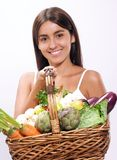 Woman vegetables. Stock Photo