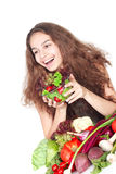 Woman with vegetables Royalty Free Stock Photography