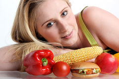 Woman with vegetables Royalty Free Stock Images