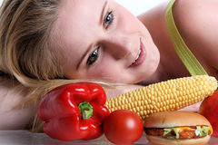 Woman with vegetables Royalty Free Stock Photos