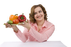 Woman with vegetables. Royalty Free Stock Photography