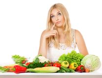 Woman with vegetables Stock Photos