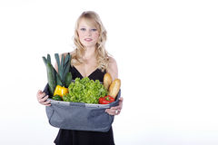 Woman with vegetables and fruit Stock Photo